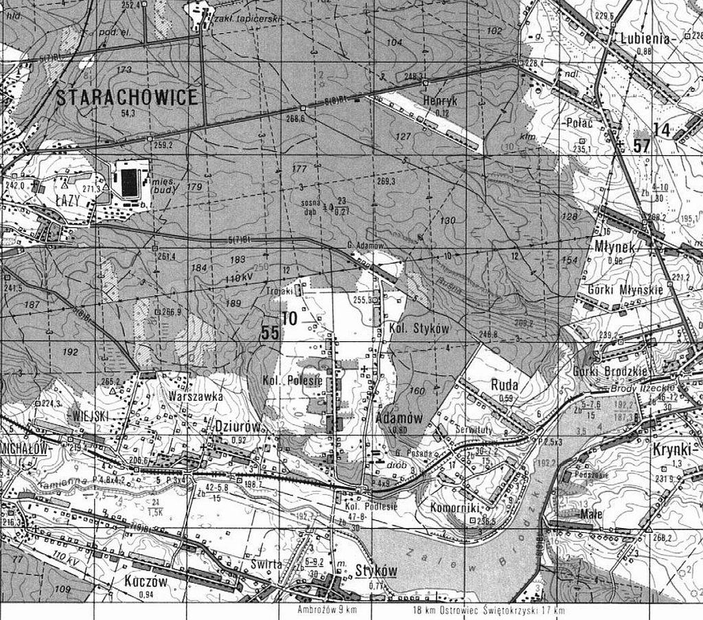 1987-stara-mapa-sztabowa-brody-starachowice-swietokrzyskie-ruda-adamow-zalew-brodzki-c.JPG